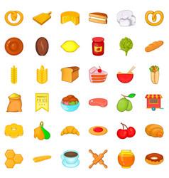 cuisine icons set cartoon style vector image