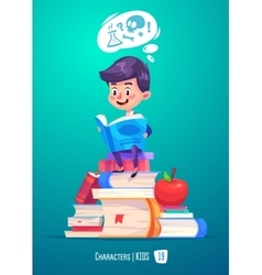 Cute boy with books Back to school vector image vector image