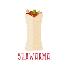 design template of shawarma arabic food vector image