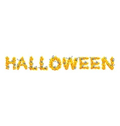 Fire Halloween letters Skeletons in hell Sinners vector image vector image