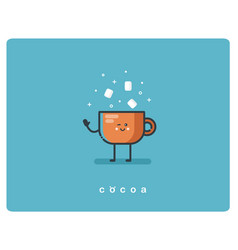 flat icon friendly cup of cocoa character vector image vector image