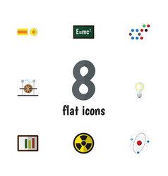 Flat icon science set of lightbulb electrical vector