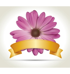 Flower with ribbon vector