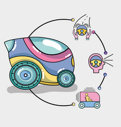 Futuristic car with modern elements icons vector