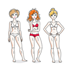 happy attractive young women standing in colorful vector image
