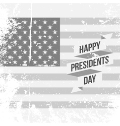 Happy Presidents Day text and Ribbon on USA Flag vector image