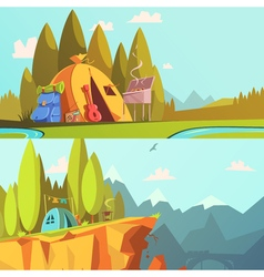 Hiking banners set vector