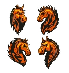 Horse head in fire shape heraldic icons vector
