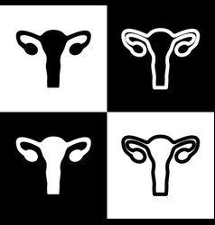 Human anatomy uterus sign black and vector