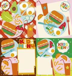 Kids menu templates vector