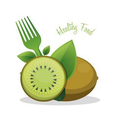 Kiwi healthy food ingredient vector