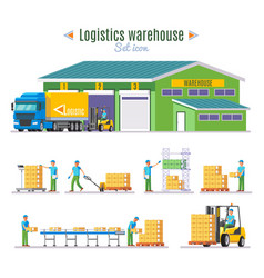 Logistic warehouse elements collection vector