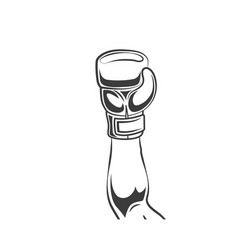 Man winner hand in boxing glove icon vector