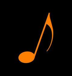 music note sign orange icon on black background vector image vector image