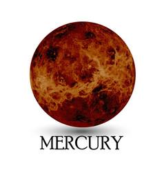 Planet mercury white background vector