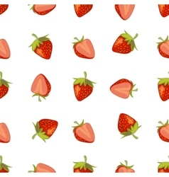 Red strawberries seamless pattern vector image