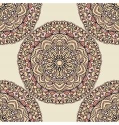 Seamless pattern with mandala circular elements vector image vector image