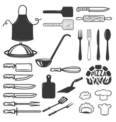 set of kitchen tools isolated on white background vector image