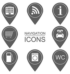 Set of navigation icons silhouette icons scope of vector