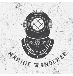 Vintage label with diving helmet vector