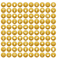 100 forest icons set gold vector