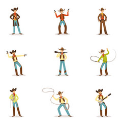North american cowboy with different accessories vector