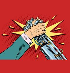 Man vs robot arm wrestling fight confrontation vector