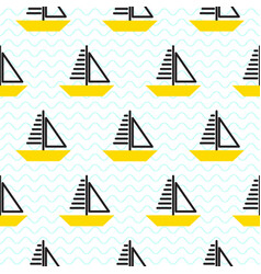 Sailing ship seamless kid pattern in vector