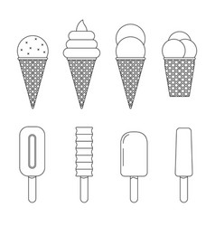 Ice cream line icons vector