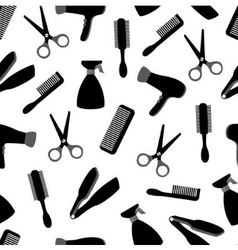 Seamless background with barber equipment vector