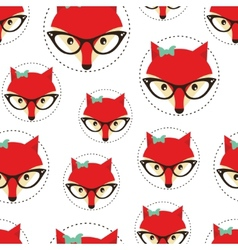 Hipster seamless pattern with red lady fox vector