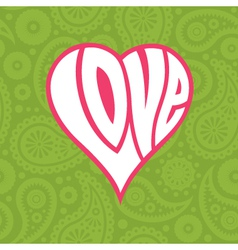 Love heart on seamless paisley background vector
