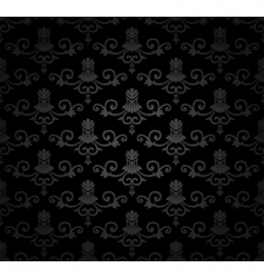 Black seamless vintage floral pattern vector