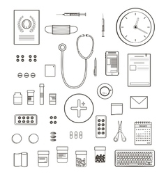 Outlined one color medical symbols and icons vector