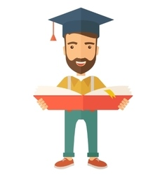 Man standing with graduation cap vector