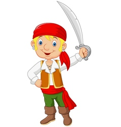 Cartoon pirate holding a sword vector