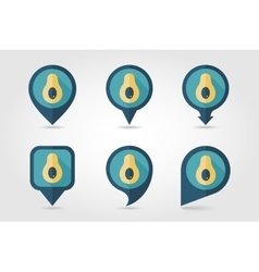 Avocado mapping pins icons vector