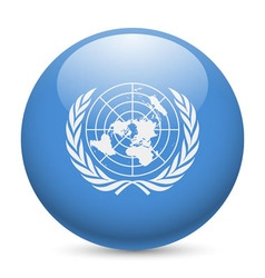 Round glossy icon of united nations vector