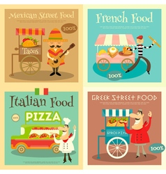 Street food festival posters vector