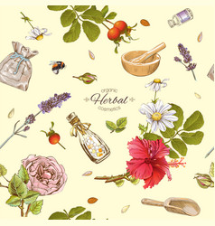 Herbal cosmetics pattern vector
