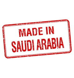 Made in saudi arabia red square isolated stamp vector