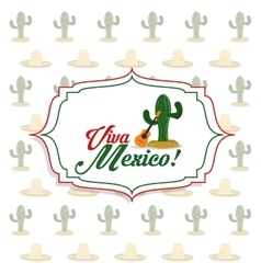 Cactus and guitar icon mexico culture vector