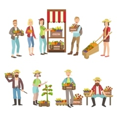 Farm vegetables market and people farming vector