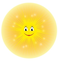 a cute yellow cartoon sun vector image