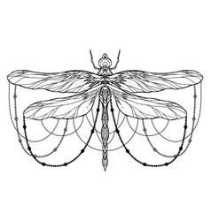 black and white dragonfly with boho pattern and vector image