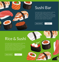 cartoon sushi horizontal banner templates vector image