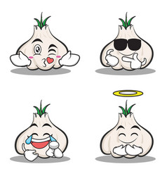 Collection set of garlic cartoon character vector
