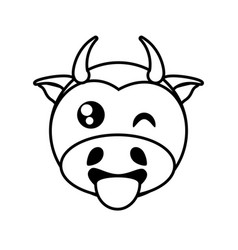 cow face animal outline vector image