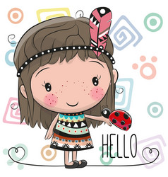 Cute cartoon girl and ladybug vector
