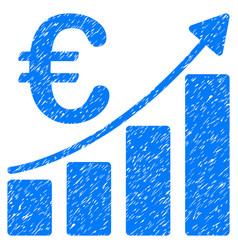 Euro bar chart grunge icon vector